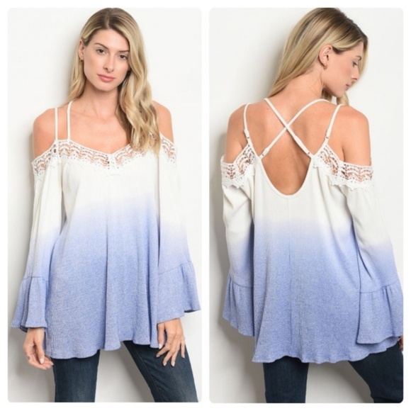 LOVE Tops - NWOT Cold Shoulder SHIRT IcyWhiteBlue Bell Sleeves